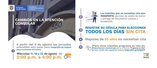 Atención al usuario del Consulado de Colombia en Newark a partir del 9 de agosto de 2021