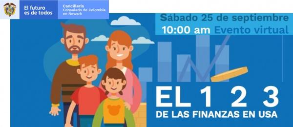 Consulado de Colombia en Newark realizará la conferencia virtual: El 1,2,3 de las finanzas en Estados Unidos el 25 de septiembre de 2021