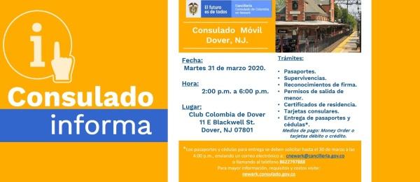 El Consulado de Colombia en Newark realizará una jornada móvil en Dover el martes 31 de marzo de 2020
