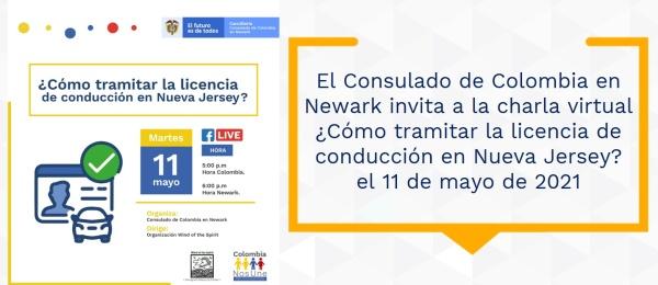 El Consulado de Colombia en Newark invita a la charla virtual ¿Cómo tramitar la licencia de conducción en Nueva Jersey? el 11 de mayo de 2021