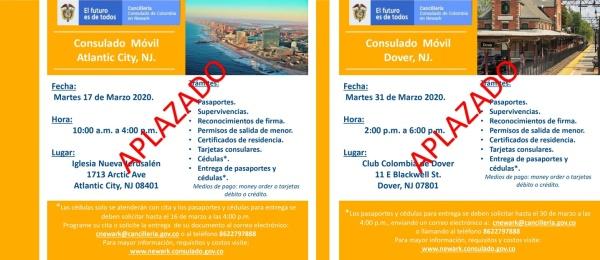 Consulado de Colombia en Newark informa aplazamiento de los consulados móviles programados para el 17 (Atlantic City) y 31 de marzo (Dover) de 2020