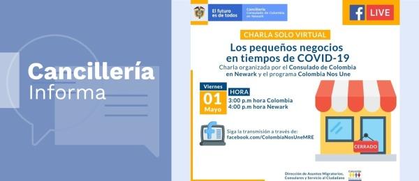Consulado de Colombia en Newark invita a la charla virtual 'Los pequeños negocios en tiempos de COVID-19', el 1 de mayo de 2020